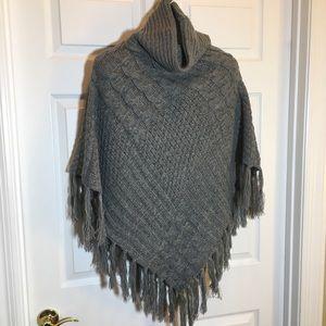 Sweater Turtleneck Gray  Poncho